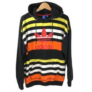 Adidas Trefoil Oversized Fit Random Stripe Hoodie Sweatshirt Medium